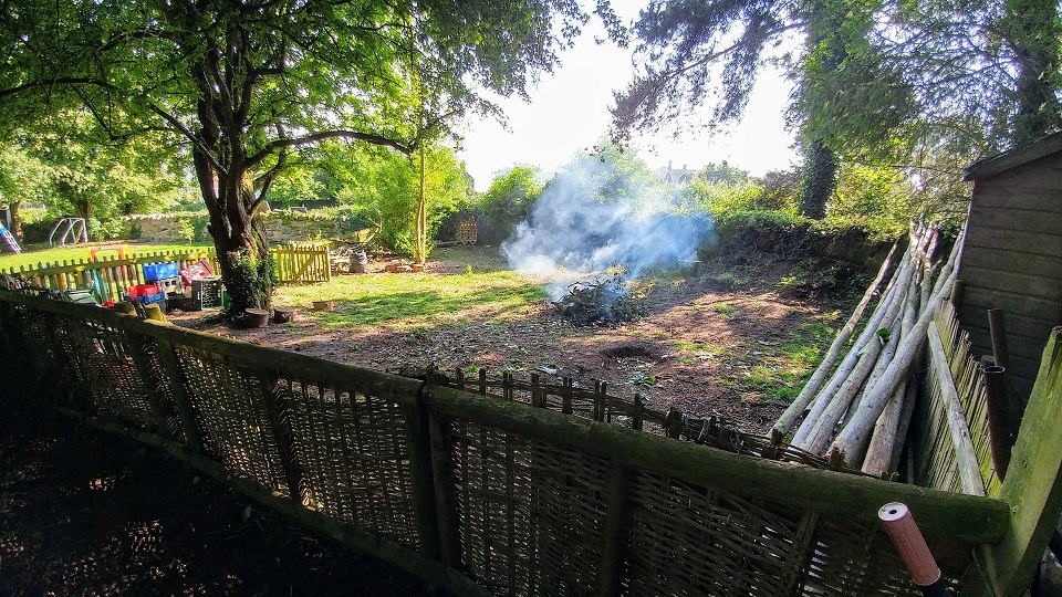 The mud kitchen and wildlife area are also tidy. With a smoke signal to show success!