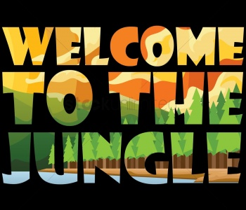 Banner advertising the Jungle Themed school disco